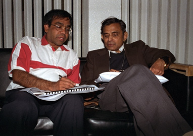 Brajendra Sutradhar and Vidyadhar Godambe. Photo by L. Cowen