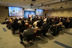 View of panel discussion with audience